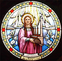 St Caecilia Stained Glass Window, Our Lady of Mount Carmel, Bristol, Rhode Island, USA